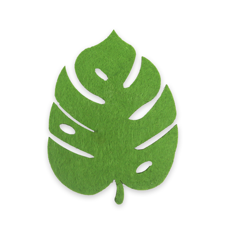 Yaprak Desenli Yeşil Keçe Bardak Altlığı
