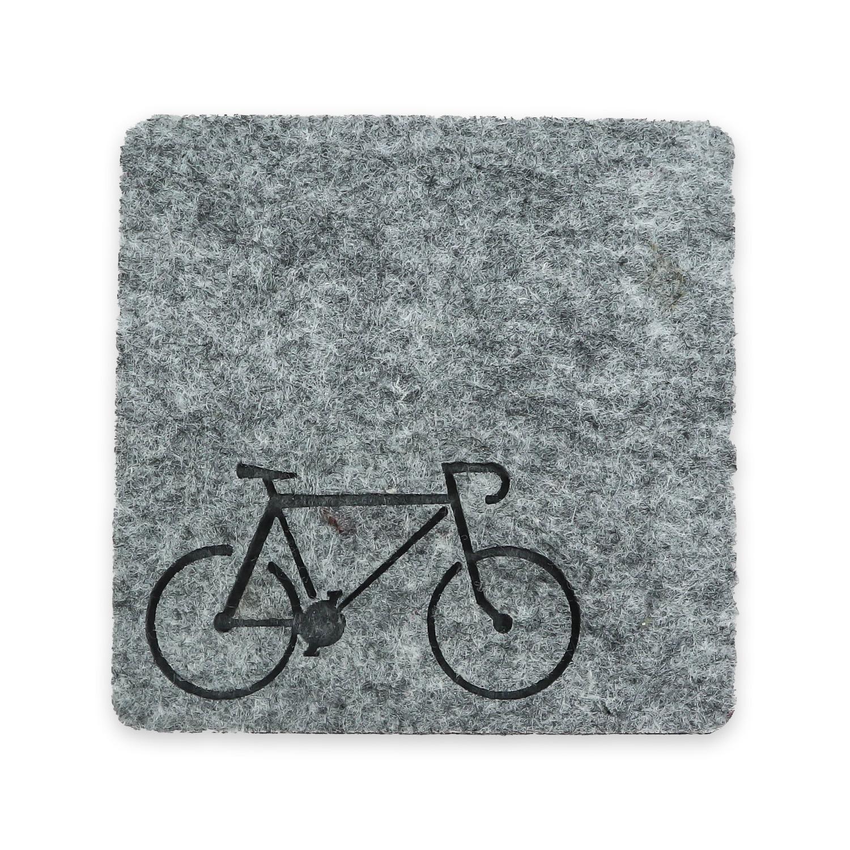 Bisiklet Desenli Gri Keçe Bardak Altlığı