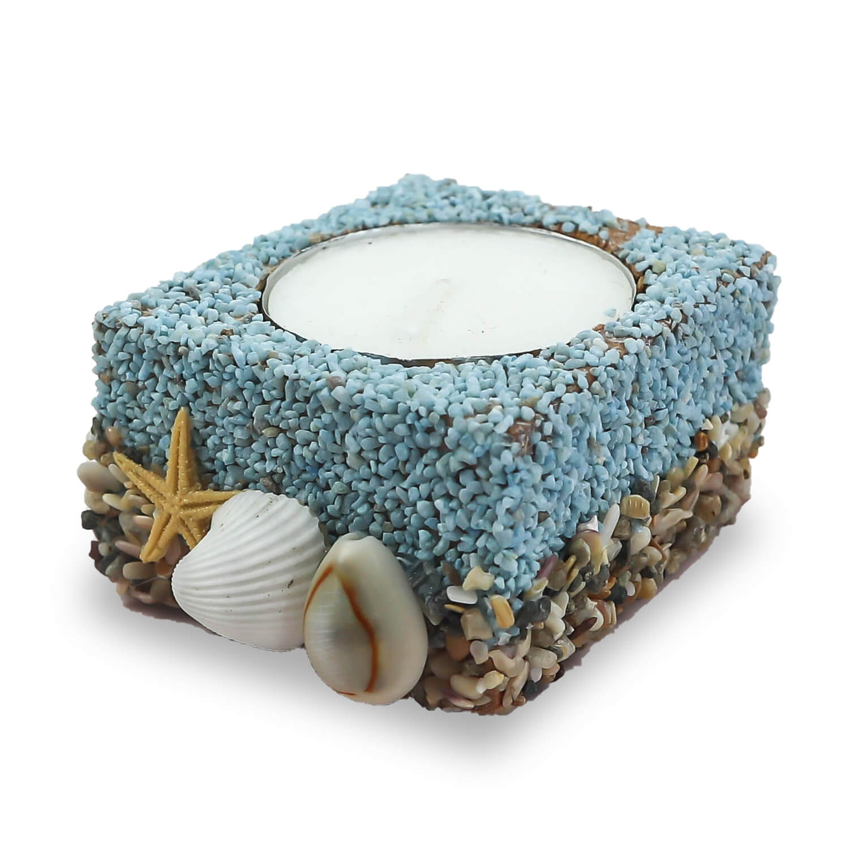 Ahşap Deniz Kabuğu Detaylı Tealight Mumluk