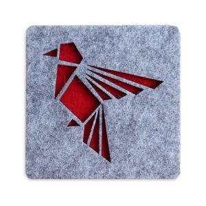 Kırmızı Kuş Keçe Bardak Altlığı