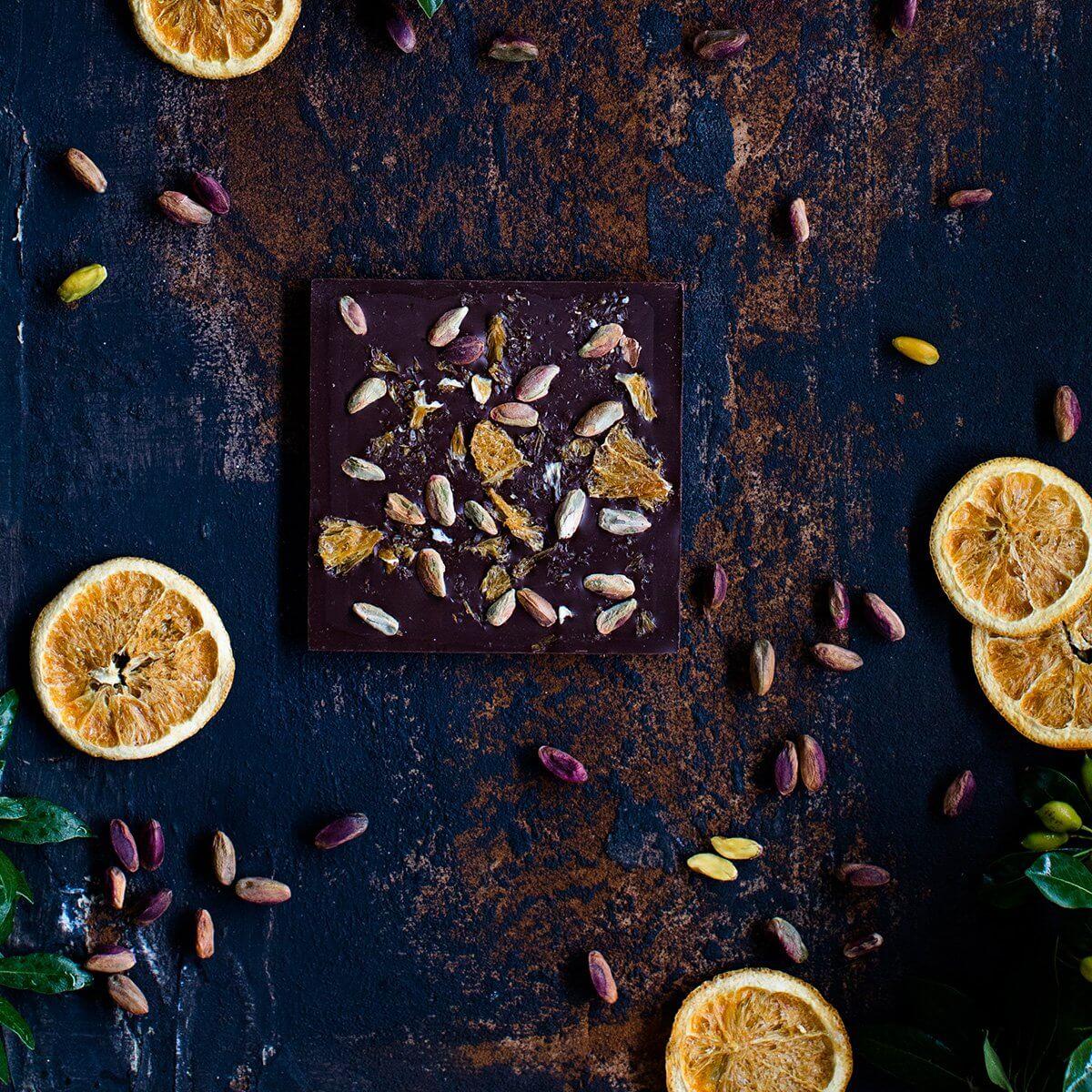 MI'Cao Portakal & Fıstık Bitter Çikolata Tablet 70GR