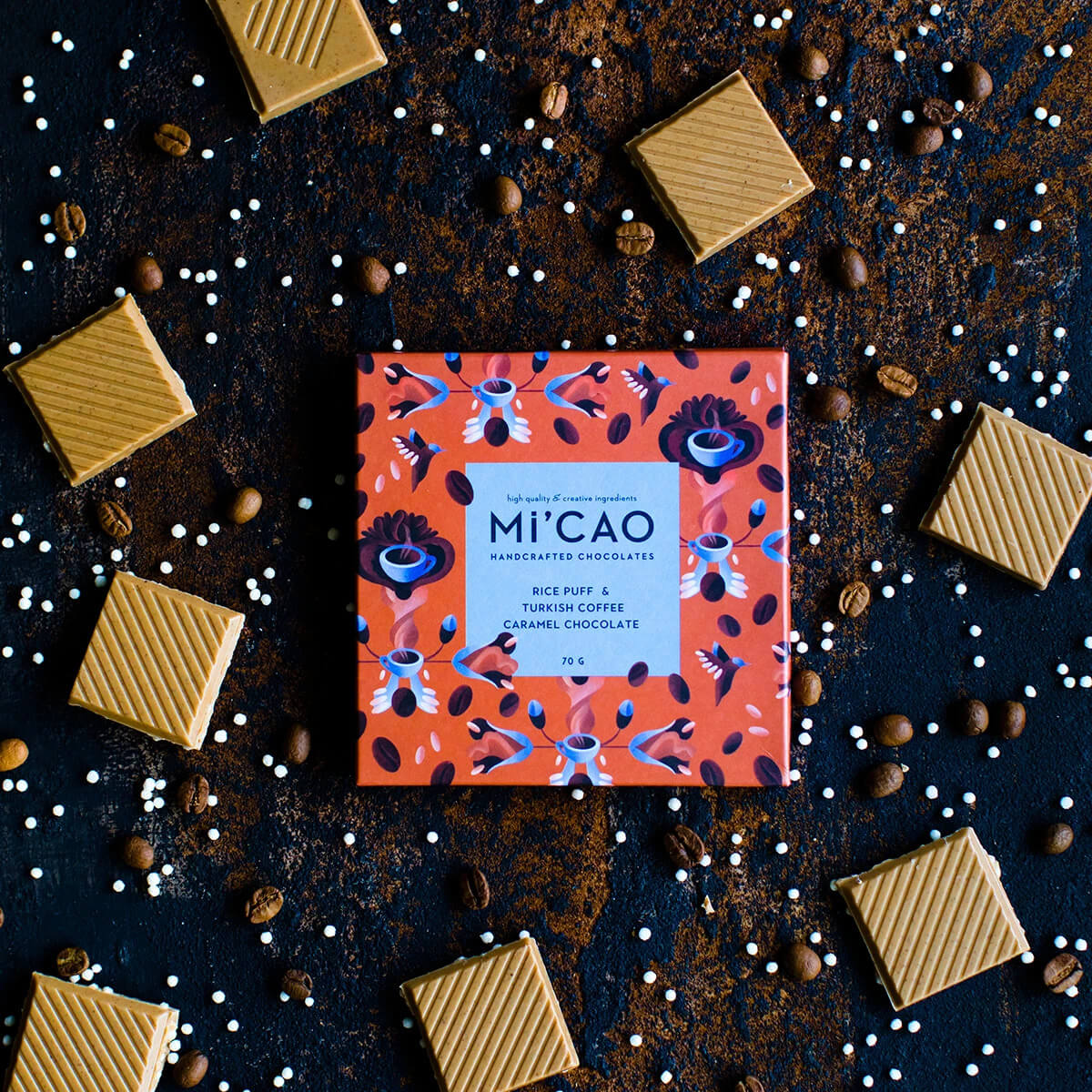 MI'Cao Pirinç Patlağı & Türk Kahveli Karamel Çikolata Tablet 70GR