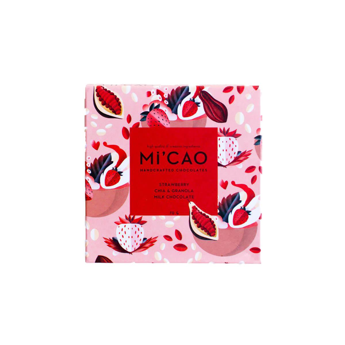 MI'Cao Çilekli Granolalı Sütlü Çikolata Tablet 70GR