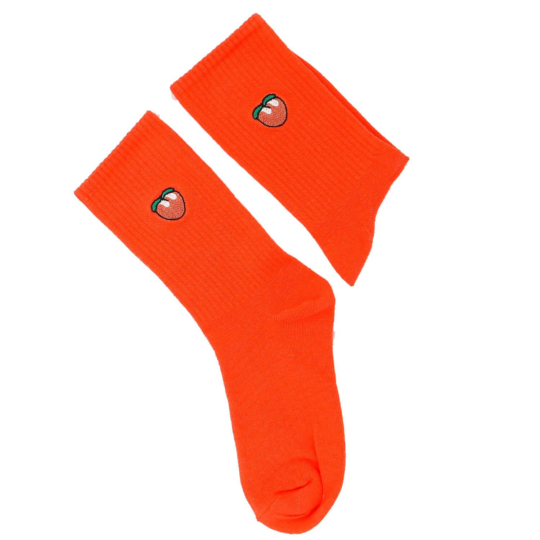 Şeftali Tasarımlı Nakışlı Çorap