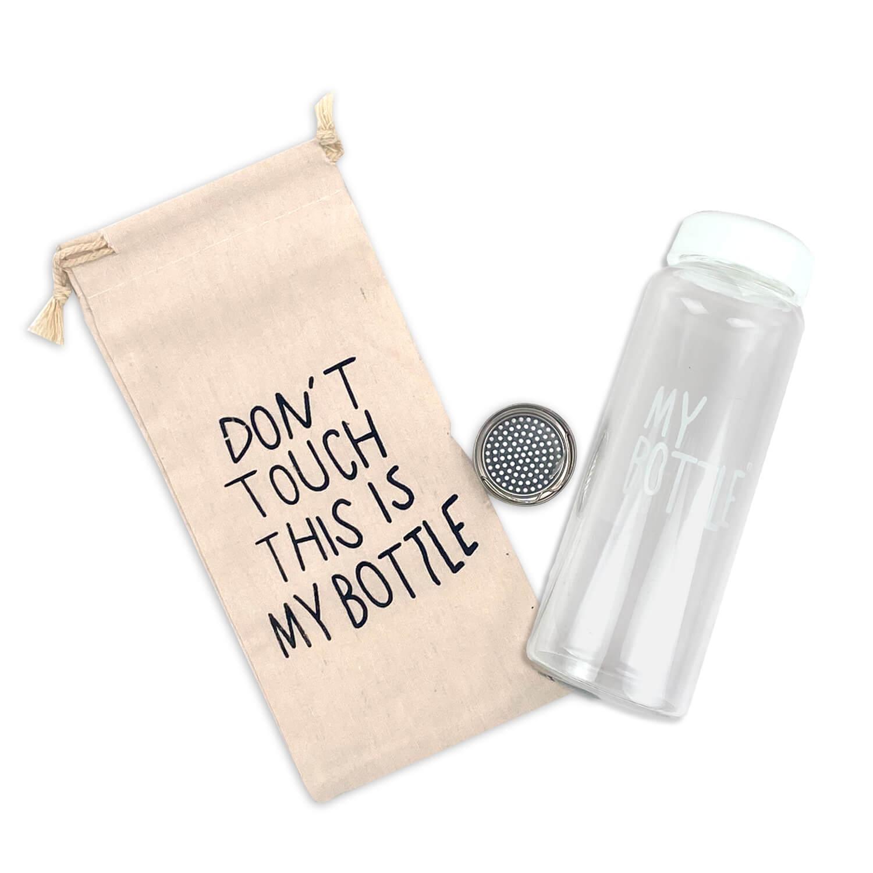 Beyaz Kapaklı Özel Keseli Cam Matara - My Bottle