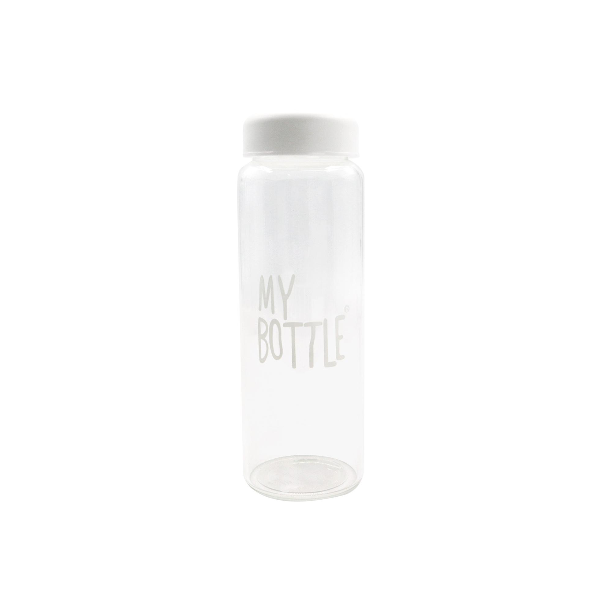 Beyaz Kapaklı Özel Keseli Cam Matara - My Bottle2