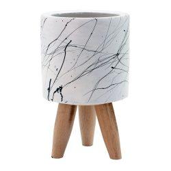 Beyaz Mermer Desenli Beton Saksı