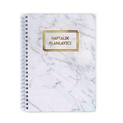 Beyaz Mermer Desenli Haftalık Planlayıcı