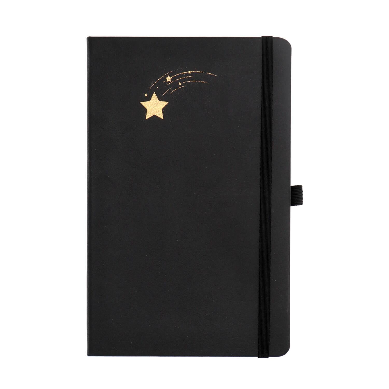 Yıldız Tasarımlı Yaldızlı Siyah Not Defteri