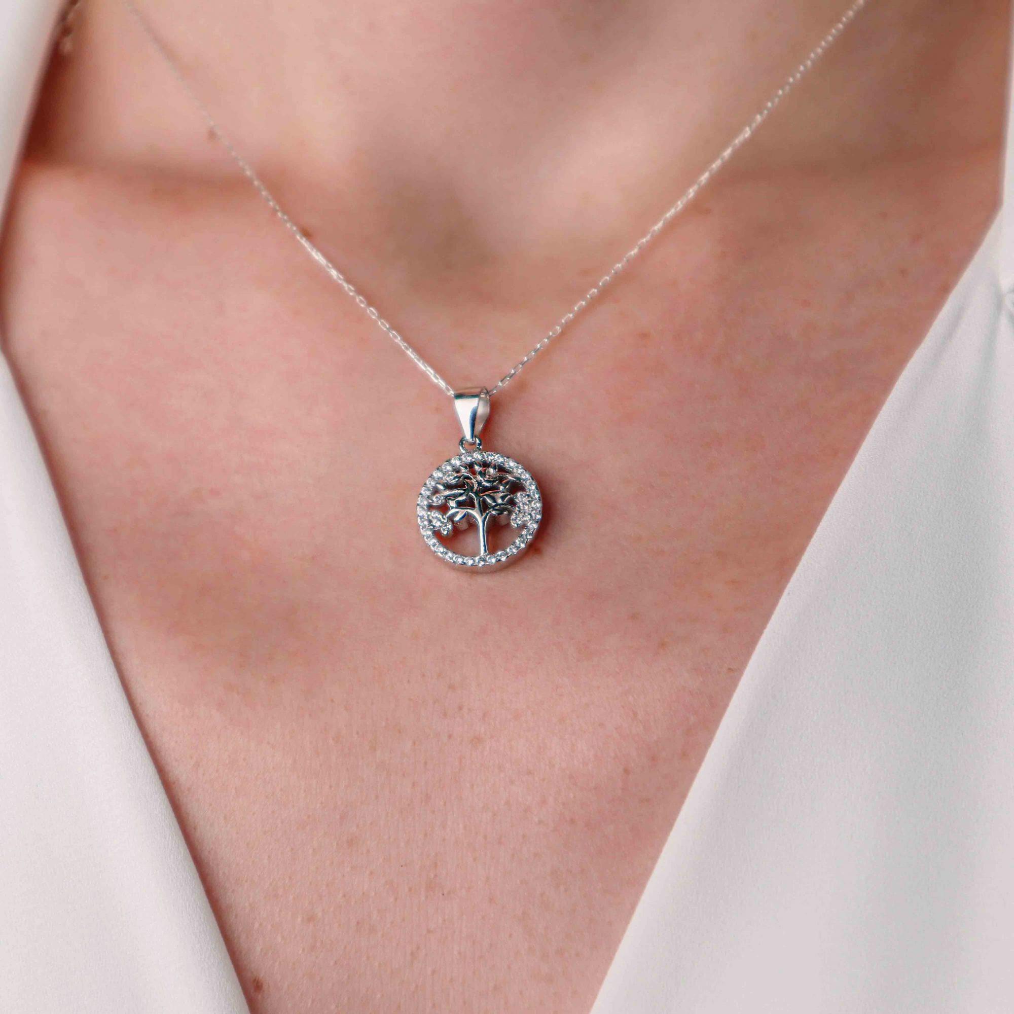 Gümüş - 925 Ayar Swarovski Taşlı Hayat Ağacı Kolye