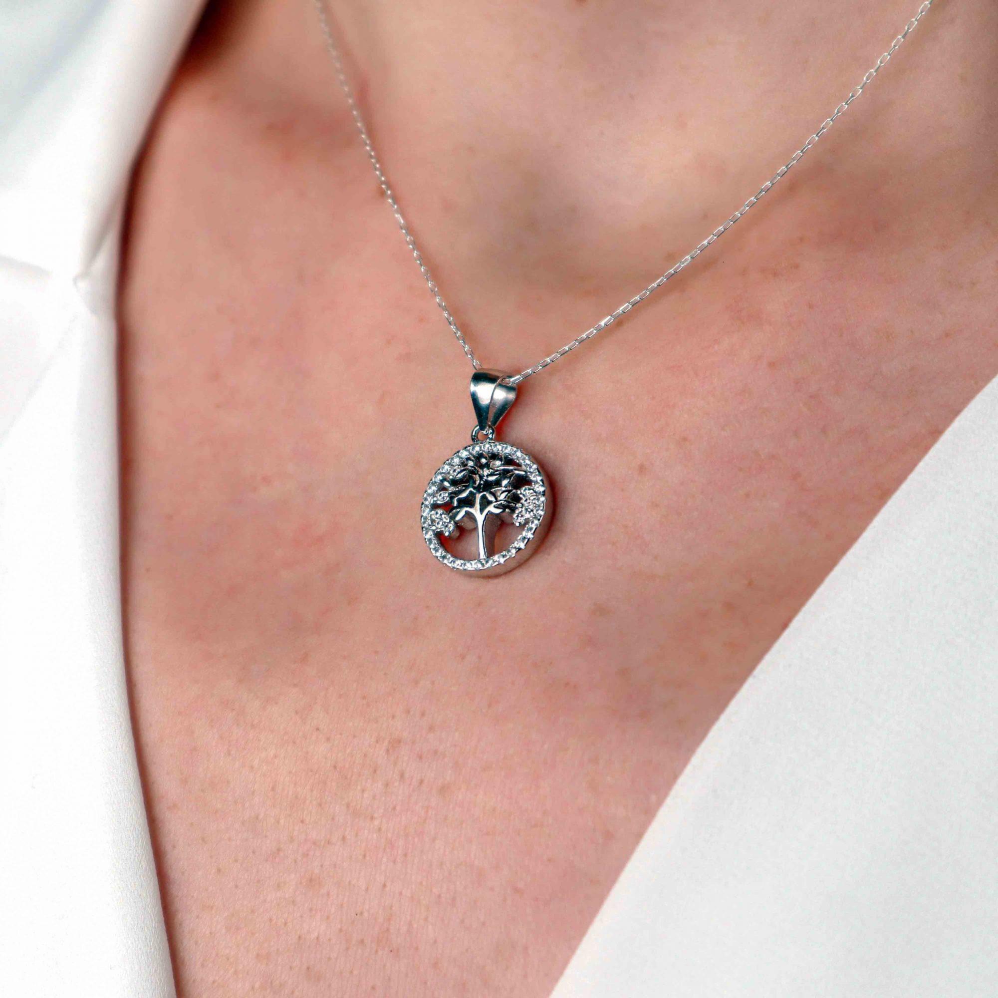 Gümüş - 925 Ayar Swarovski Taşlı Hayat Ağacı Kolye2