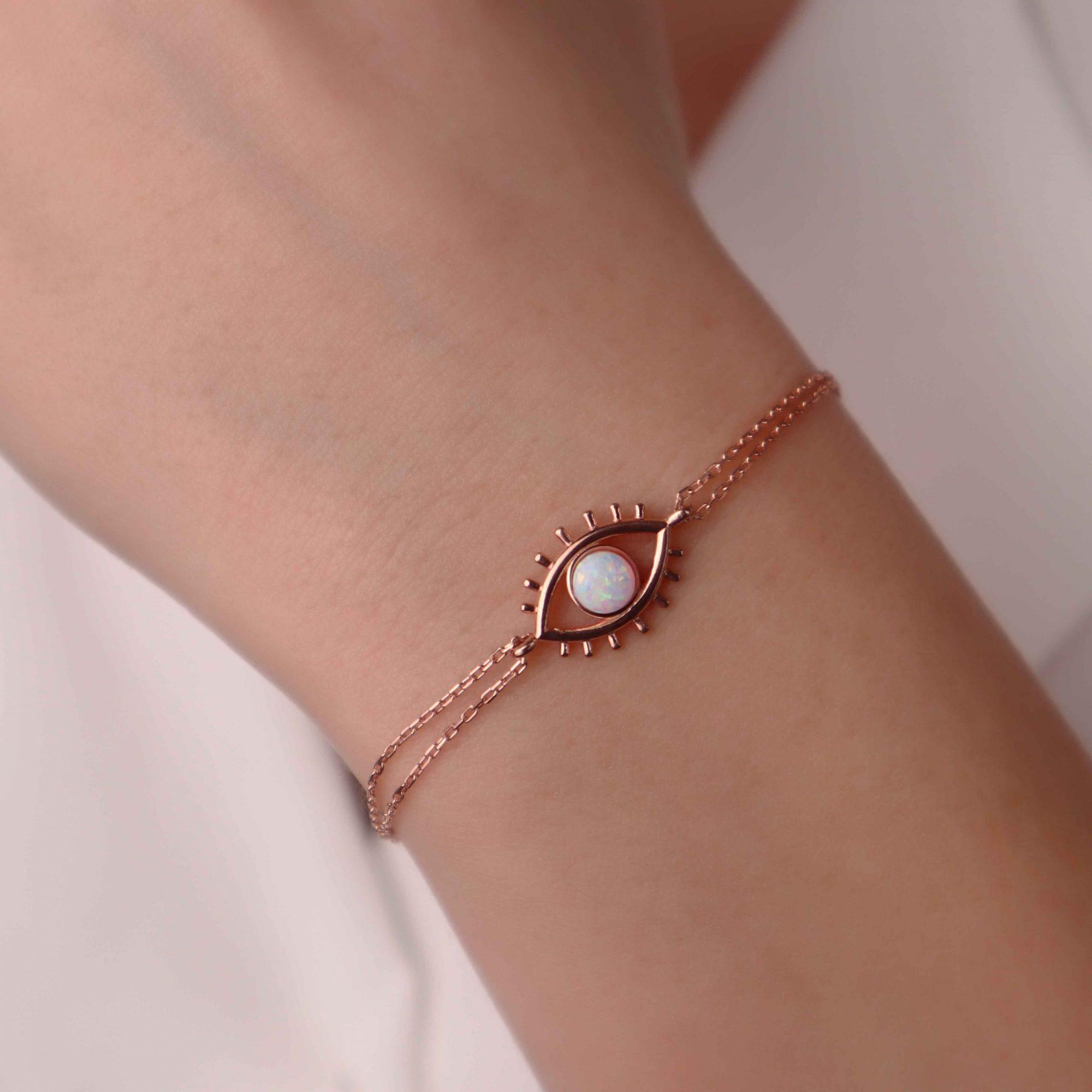 Rose - 925 Ayar Gümüş Opal Taşlı Tasarım Bileklik
