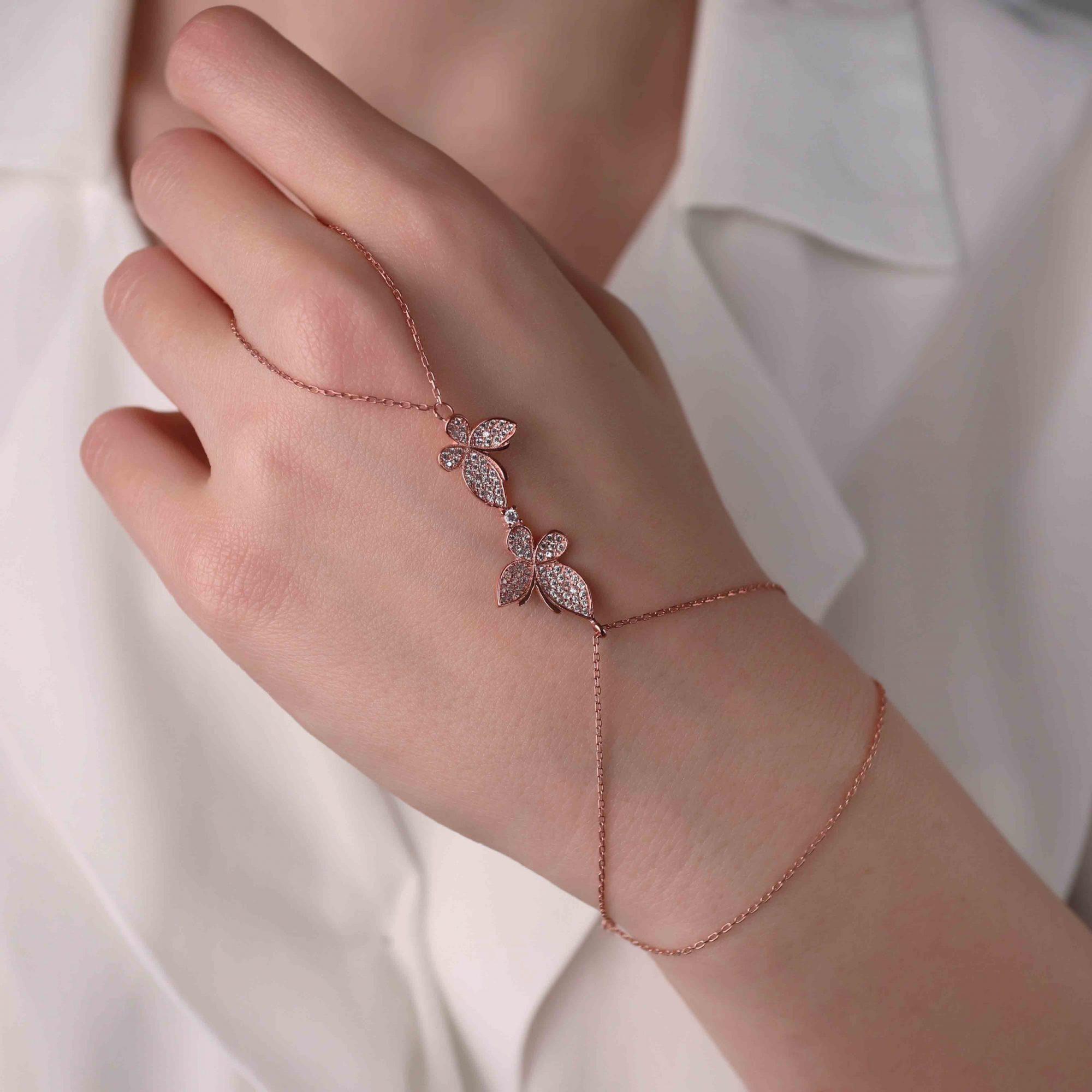 Rose - 925 Ayar Gümüş Swarovski Taşlı Kelebek Motifli Tasarım Şahmeran