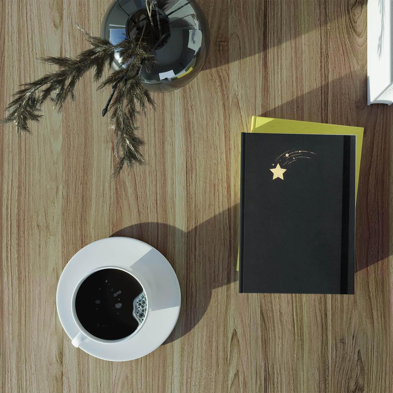 Yıldız Tasarımlı Yaldızlı Siyah Not Defteri2