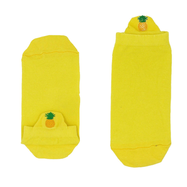 Ananas Tasarımlı Nakışlı Sarı Patik Çorap