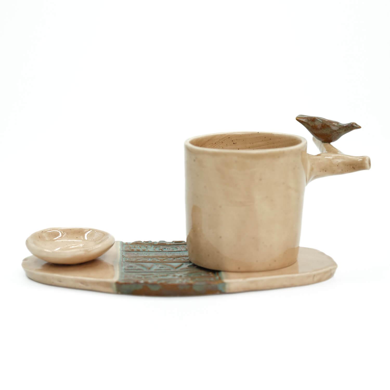 Haki Kuşlu El Yapımı Fincan Takımı