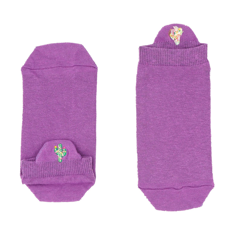 Kaktüs Tasarımlı Nakışlı Lila Patik Çorap