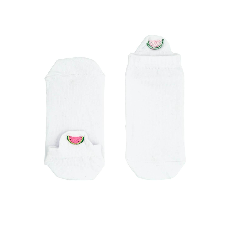 Karpuz Tasarımlı Nakışlı Beyaz Patik Çorap