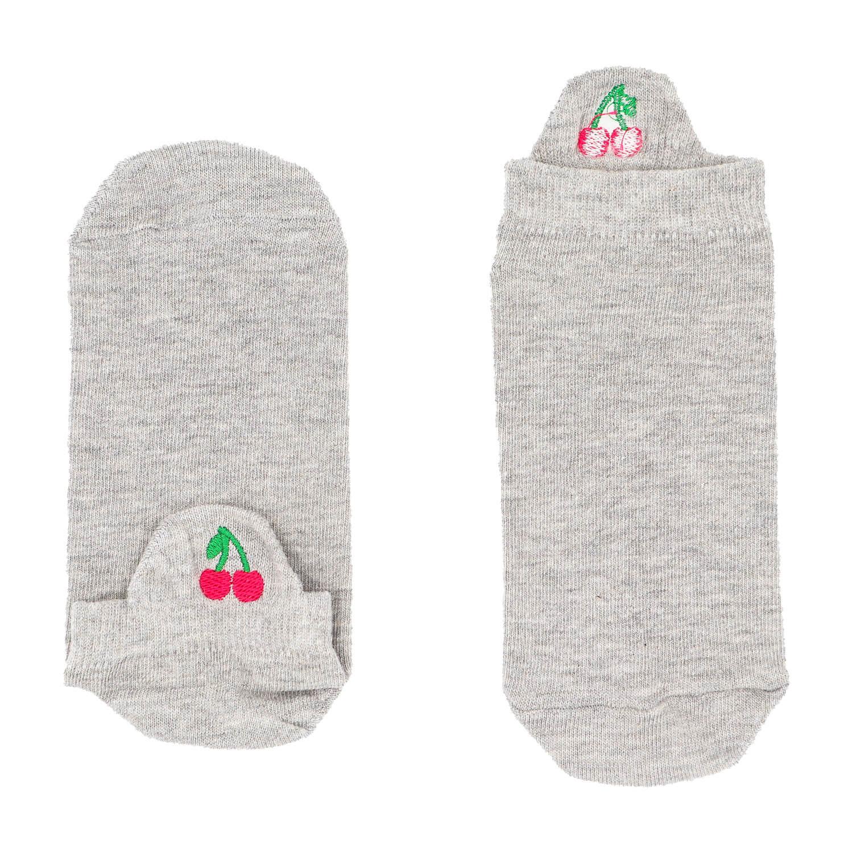 Kiraz Tasarımlı Nakışlı Gri Patik Çorap