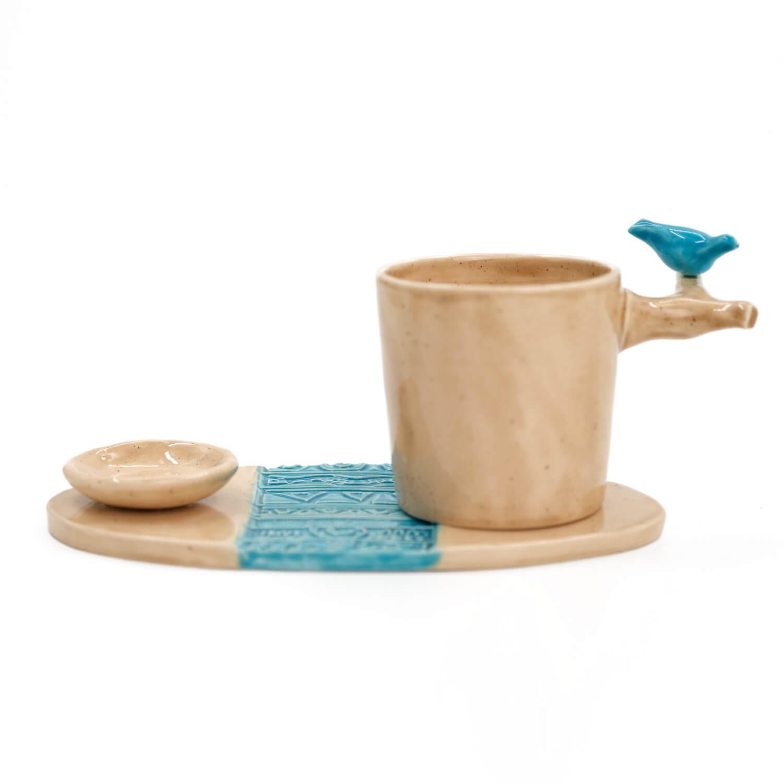 Mavi Kuşlu El Yapımı Fincan Takımı