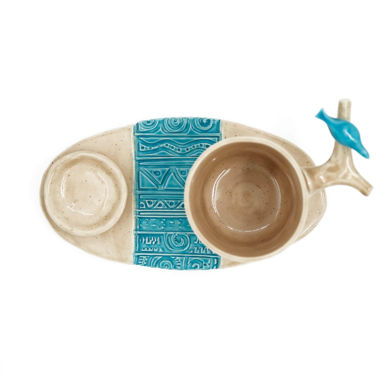 Mavi Kuşlu El Yapımı Fincan Takımı2