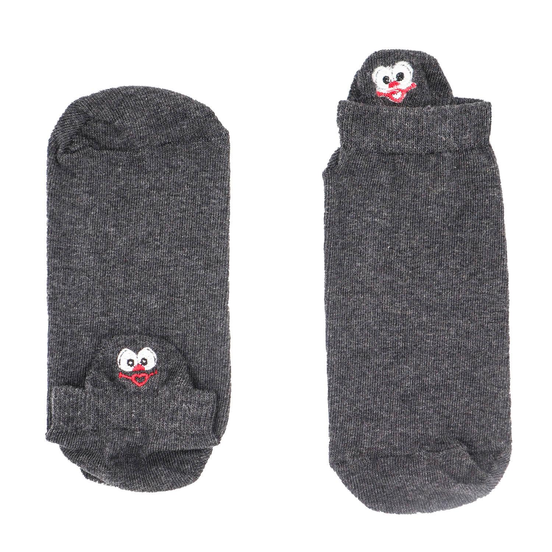Surat Figürlü Nakışlı Füme Patik Çorap