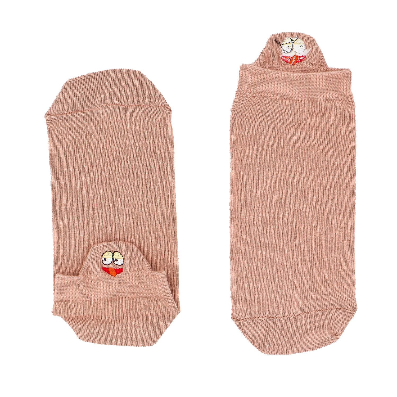 Surat Figürlü Nakışlı Somon Patik Çorap