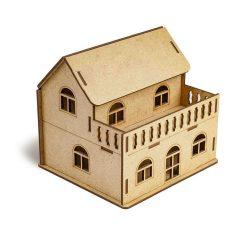 Balkonlu Ev 3D Ahşap Boyama Maketi