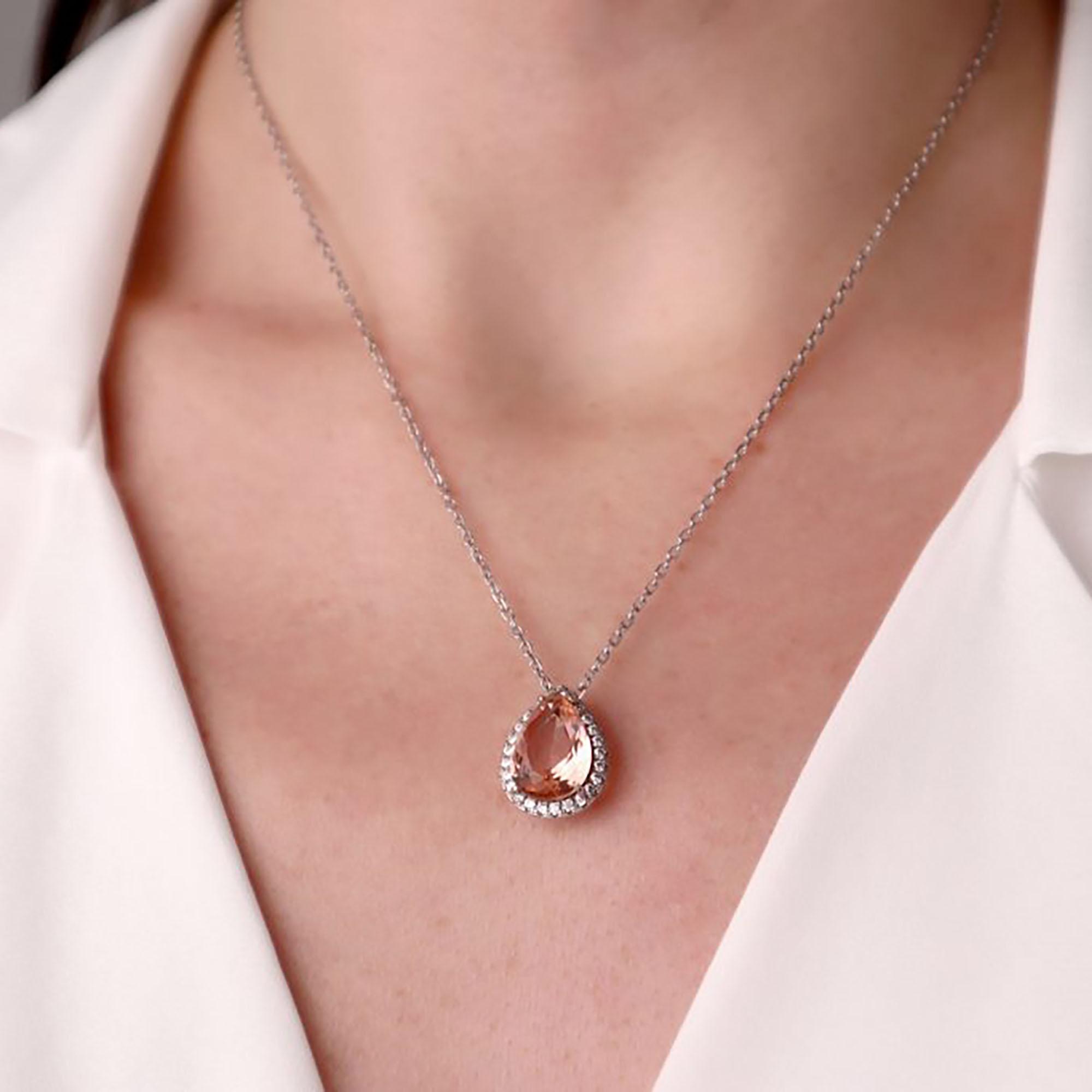 Gümüş – 925 Ayar Swarovski & Pink Quartz Taşlı Tasarım Kolye