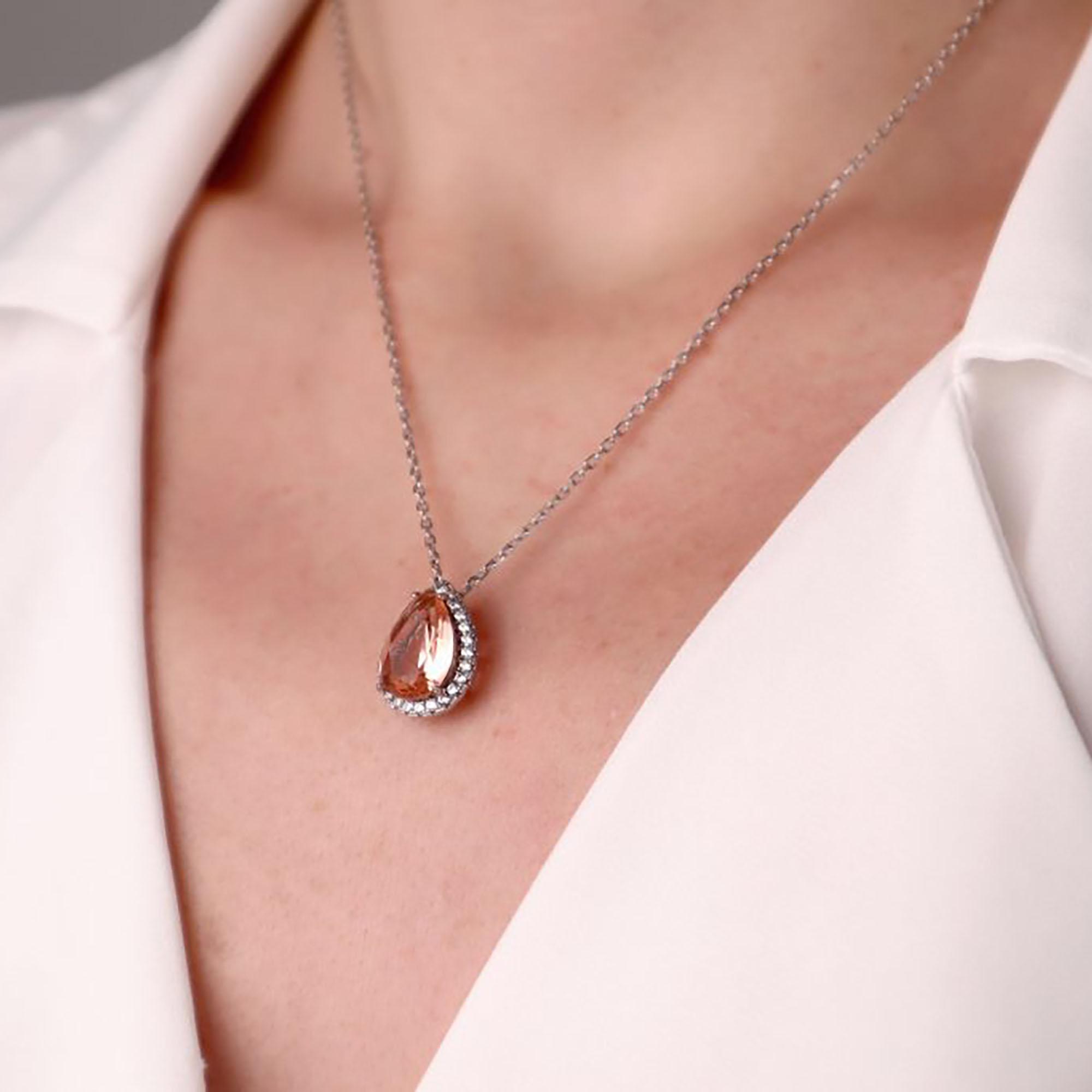 Gümüş – 925 Ayar Swarovski & Pink Quartz Taşlı Tasarım Kolye-2