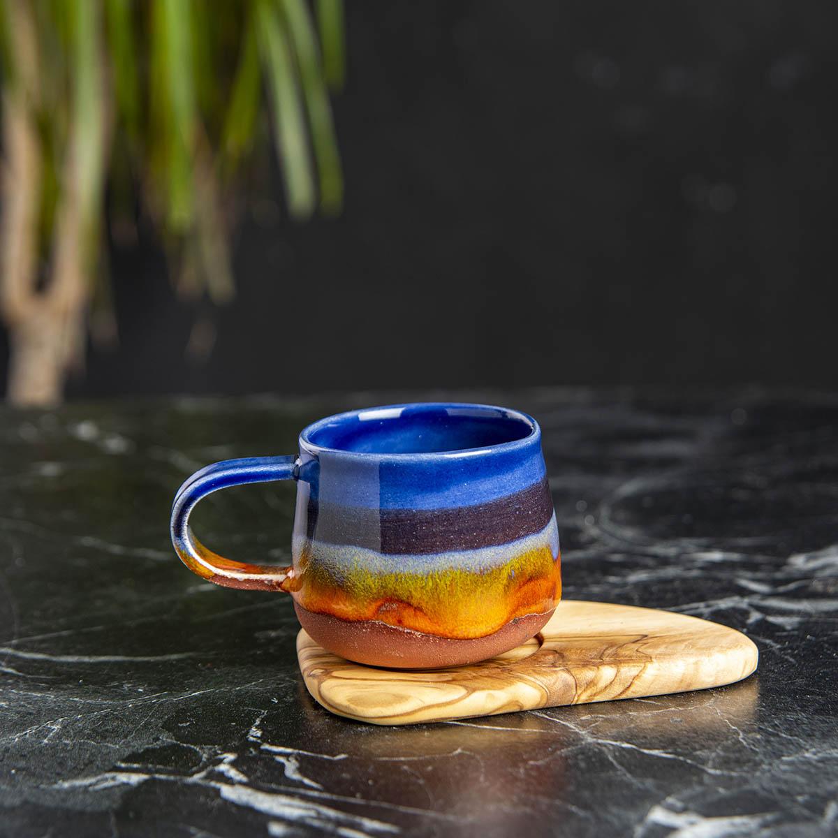 El Yapımı Seramik Fincan Takımı - Mavi-3