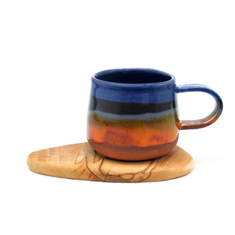 El Yapımı Seramik Fincan Takımı - Mavi