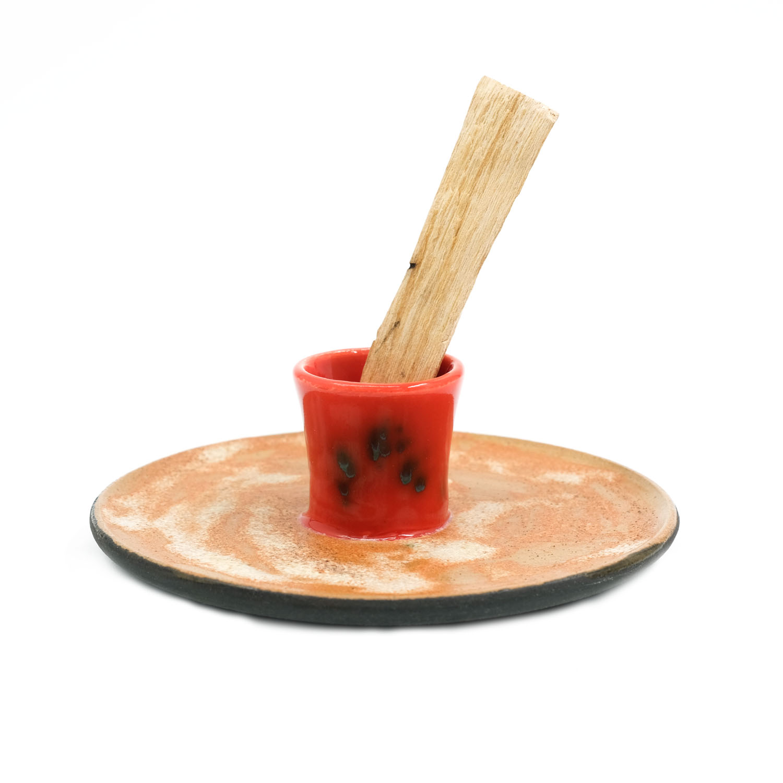 El Yapımı Seramik Tütsülük - Kırmızı-3