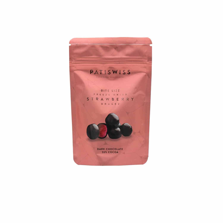 Patiswiss Bite Size Dried Strawberry Dark Chocolate Dragee