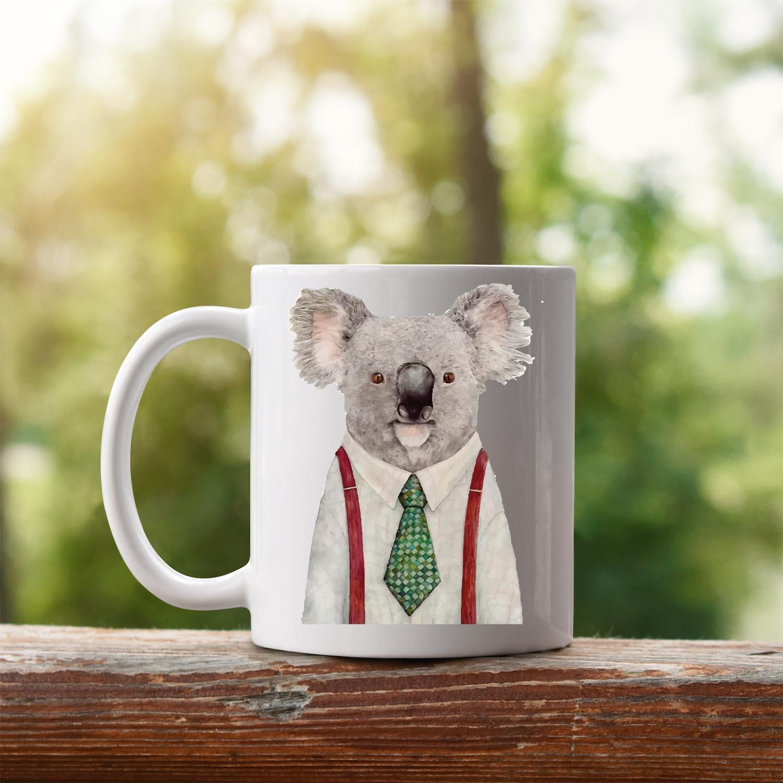 takım elbise giyen koala