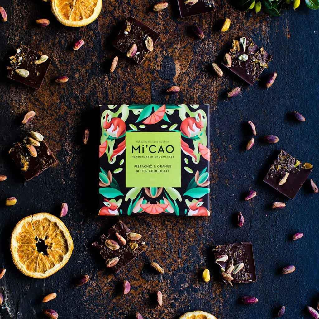 Mi'CAO Portakal & Fıstık Bitter Çikolata Tablet 35 g-3